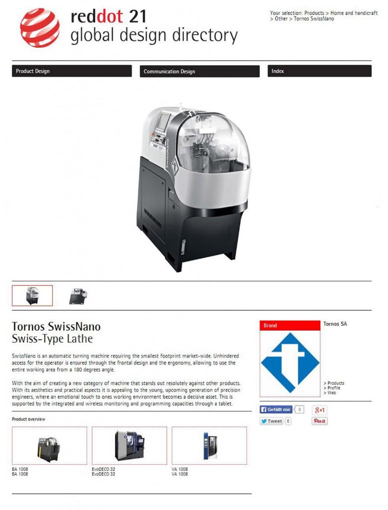 Red Dot Design Award,Tornos SwissNano